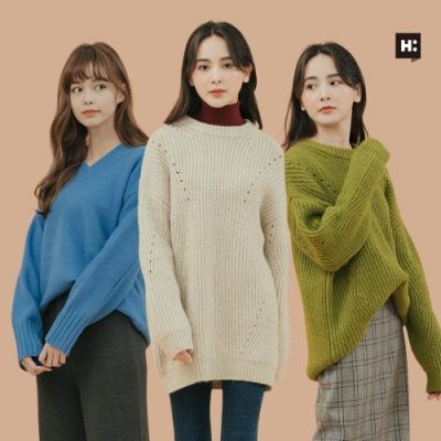 [時時樂限定]H:CONNECT 女裝 –百搭素面針織上衣 -多色選