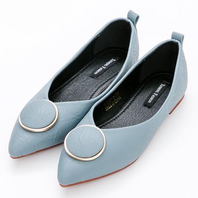 River&Moon中大尺碼-都會圓扣Q軟橡膠平底尖頭鞋-藍
