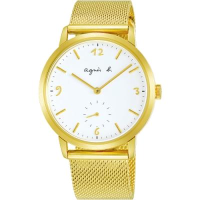 agnes b.法式風情簡約米蘭帶手錶(BN4008X1)-白x金/38mm