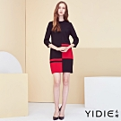 【YIDIE衣蝶】撞色色塊人像項鍊洋裝-紅