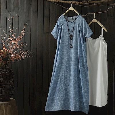 中式改良旗袍苧麻短袖吊帶洋裝設計所在Q1609