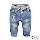 兒童 微刷破繫帶牛仔褲 TATA KIDS