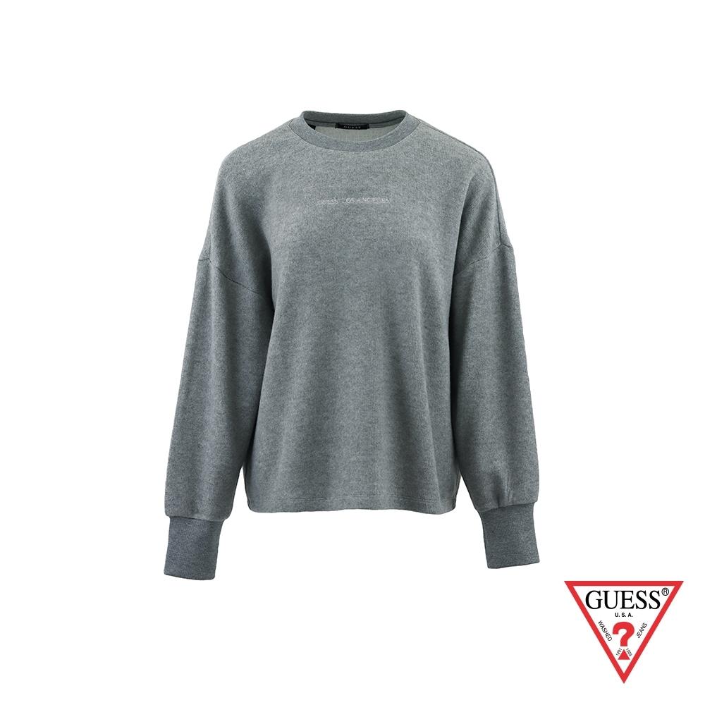 GUESS-女裝-文字刺繡純色絨毛長袖上衣-灰 原價2990