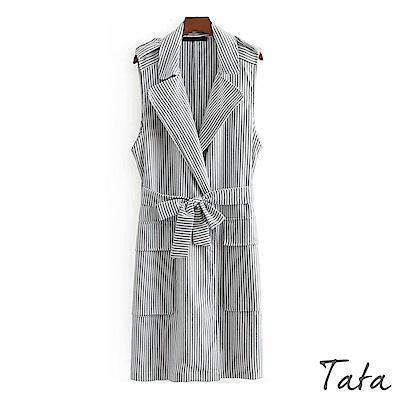 條紋綁帶無袖外套 TATA