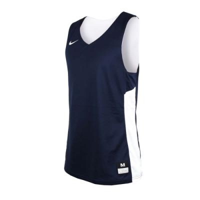 NIKE 男雙面籃球針織背心-無袖背心 慢跑 路跑 健身 訓練 丈青白