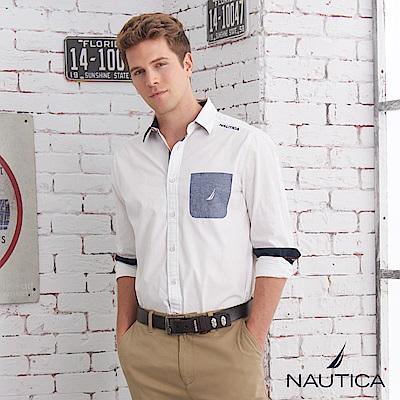 Nautica簡約航海精神造型長袖襯衫