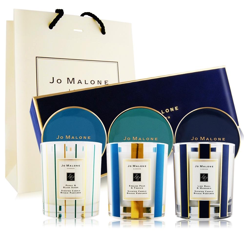 Jo Malone 居室香氛工藝蠟燭禮盒[青檸羅勒+英國梨+牡丹]200gX3[附提袋]