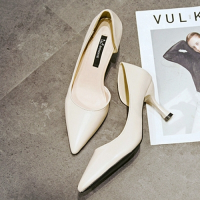 KEITH-WILL時尚鞋館 機能素面百搭尖頭跟鞋-白