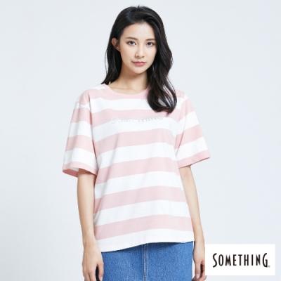 SOMETHING 條紋立體燙箔 短袖T恤-女-粉紅色
