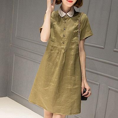 初色  純色襯衫領洋裝-共5色-(M-2XL可選)