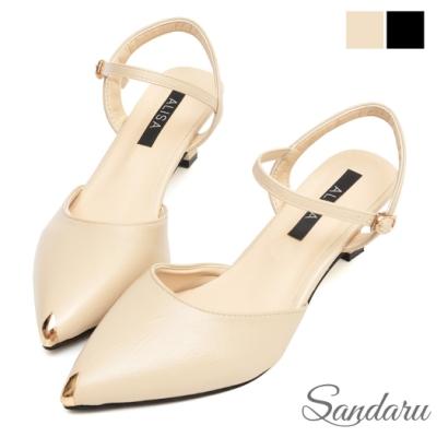山打努SANDARU-瑪莉珍 尖頭金屬踝釦中跟鞋-米