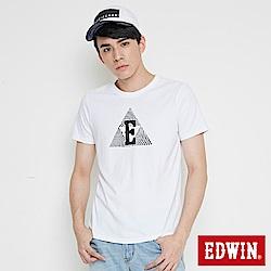 EDWIN 三角漩渦幾何圖印花短袖T恤-男-白色