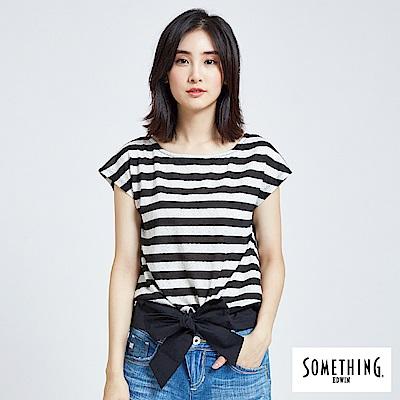 SOMETHING 緹花條紋綁結T恤-女-黑色