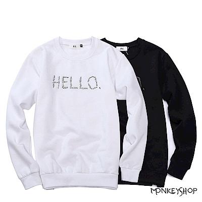 Monkey Shop MIT台灣製HELLO刺繡圓領大學T長袖T恤-2色 @ Y!購物