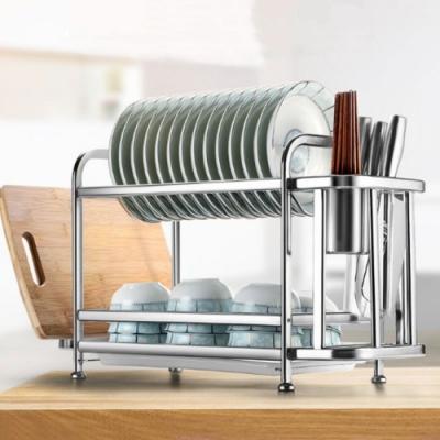 (限時下殺) ANDYMAY2 (升級款)304不銹鋼雙層廚房瀝水置物架-B款