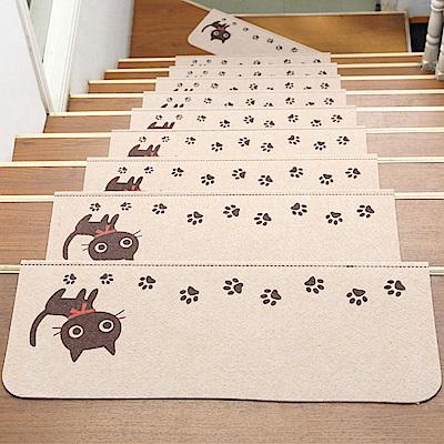 半島良品 可重覆黏貼樓梯止滑墊5入-貓咪 米色