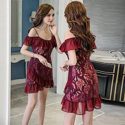 DABI 韓國名媛風蕾絲氣質性感禮服修身吊帶不規則花邊短袖洋裝