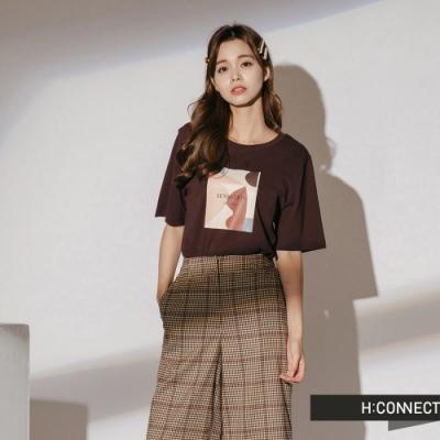 H:CONNECT 韓國品牌 女裝-撞色色彩標語短T-咖啡色