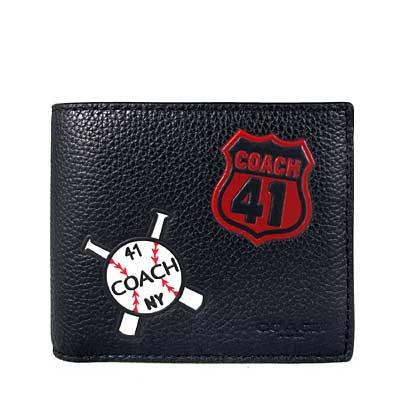 COACH 壓印Logo黑色皮革棒球圖騰雙折式短夾(附活動卡片夾)