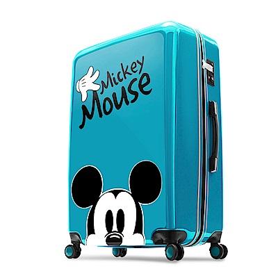 Disney 米奇奇幻之旅 28吋PC鏡面拉鍊行李箱-湖水藍