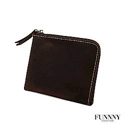 FUNNNY 真皮實用L型 零錢/卡片 收納包 中居 柊 巧克力
