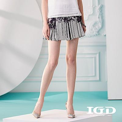 IGD英格麗花卉條紋印花百摺短裙-黑色