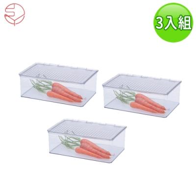 日本霜山 透明冰箱食物冷凍收納保鮮盒三入組