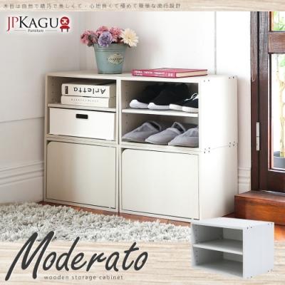 JP Kagu 日式品味DIY木質單格雙層櫃/收納櫃1入(木紋白)