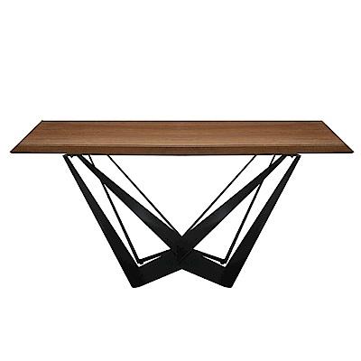 文創集 艾斯陸時尚6尺木紋餐桌(不含餐椅)-180x90x75cm免組