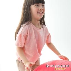 GIORDANO 童裝蝴蝶結荷葉袖上衣-86 白/粉紅