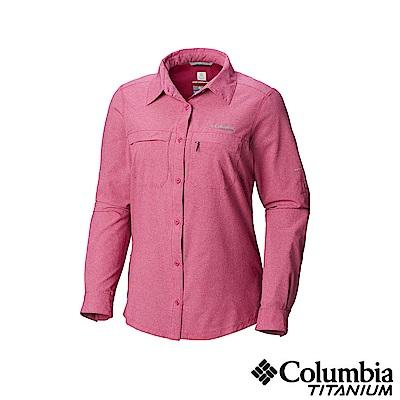 Columbia 哥倫比亞 女款-鈦 涼感快排長袖襯衫-桃紅 UAL91370FC