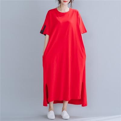 米蘭精品 連身裙短袖洋裝-文字印花紅色長版女裙子73xz23