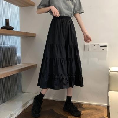 甜美彈性腰純色荷葉蛋糕半身裙-F(共二色)-Dorri
