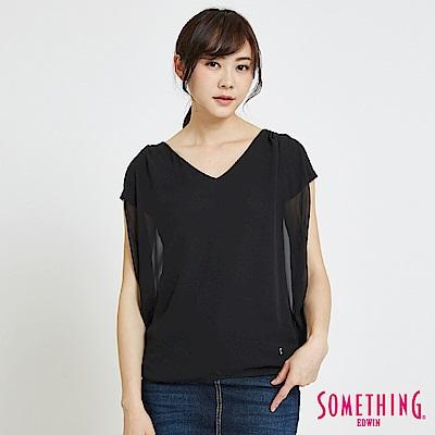 SOMETHING 假兩件異材質 造型T恤-女-黑色