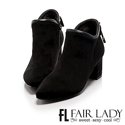 Fair Lady 尖頭絨布後蝴蝶結飾粗跟短靴 黑