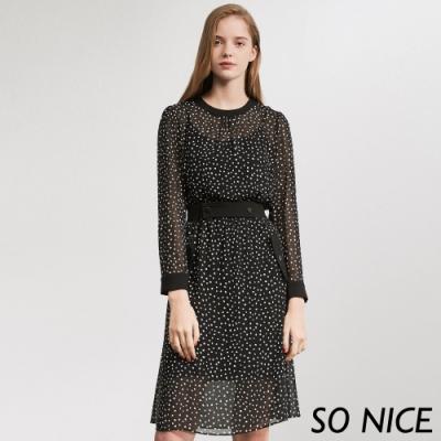 SO NICE優雅雪花點點雪紡洋裝