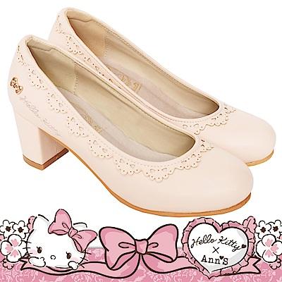 HELLO KITTY X Ann'S LADY美人蕾絲滾邊羊紋粗跟包鞋