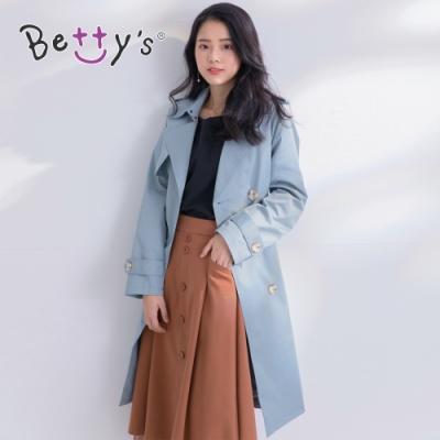betty's貝蒂思 英倫風雙排釦長版風衣(霧藍色)