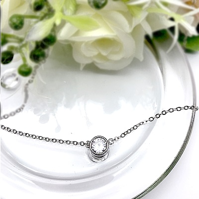 Hera 赫拉 明星同款項鍊單鑽鈦鋼鎖骨鍊-銀色款