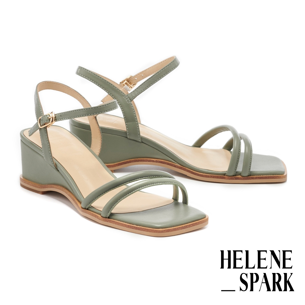 涼鞋 HELENE SPARK 簡約時尚純色圓滾繫帶方頭楔型高跟涼鞋-綠