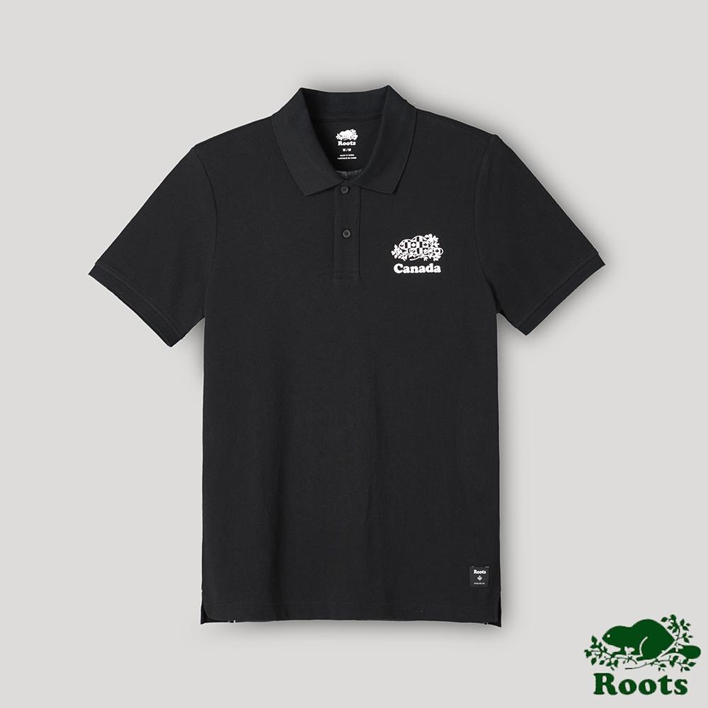 Roots男裝-愛最大加拿大日系列 短袖POLO衫-黑色