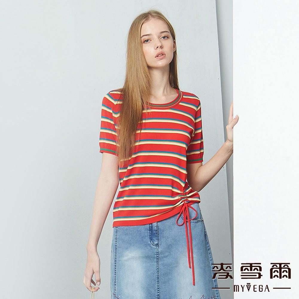 MYVEGA麥雪爾 下擺抽繩綁帶線條針織衫-紅
