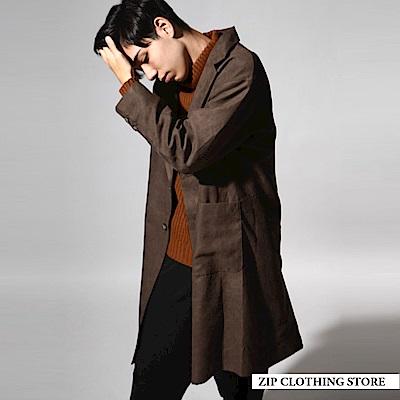 仿麂皮寬版西裝式大衣(4色) ZIP日本男裝