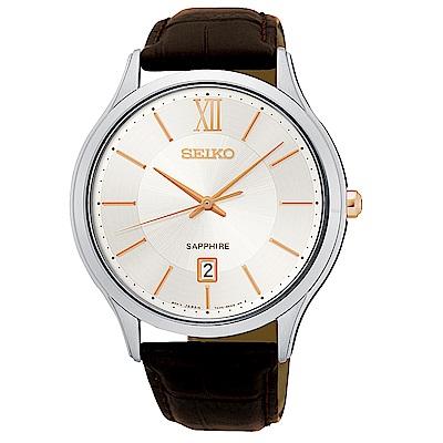 SEIKO 精工 簡約時尚真皮手錶 SGEH55P1-米X咖啡/42mm