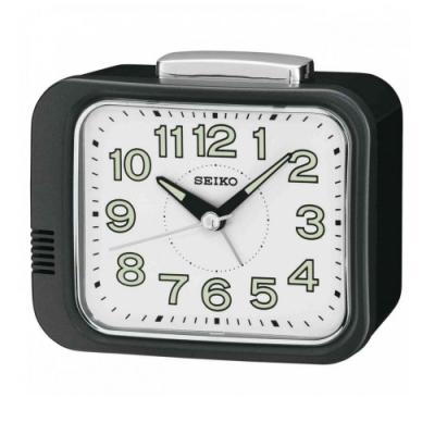 SEIKO 日本精工 夜光 滑動式秒針 響鈴鬧鐘(QHK028K)黑/9.4X11cm