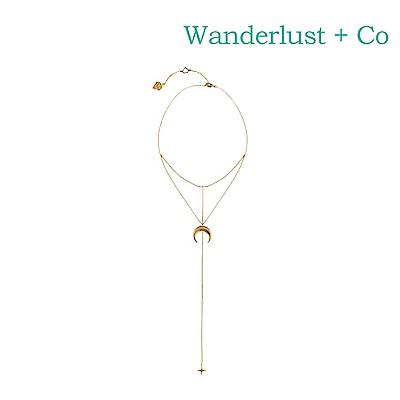 Wanderlust+Co 澳洲時尚品牌 銀河系月光之星垂墜項鍊 金色