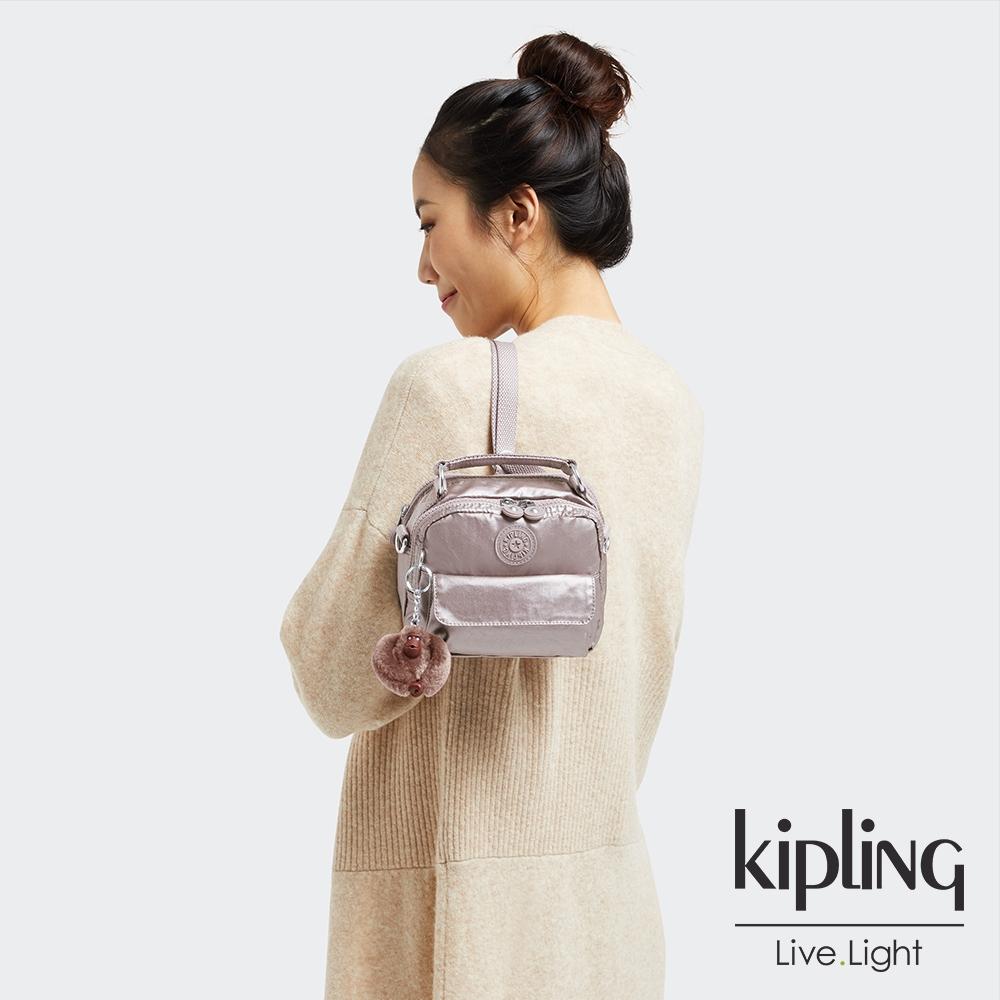 Kipling 淡雅金屬榛果色拉鍊兩用側背後背包-PUCK