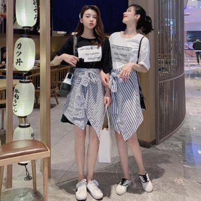 IMStyle 俏麗純棉長T條紋裙裝 (2色-白色、黑色)