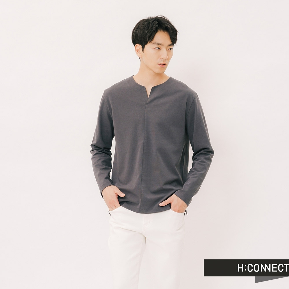 H:CONNECT 韓國品牌 男裝 - 自然風格素面上衣-灰