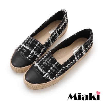 Miaki-樂福鞋時尚麻編平底休閒鞋-黑